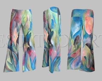 HAND PAINTED JEANS Plus size clothing plus size boho clothing festival clothing bell bottom jeans for gypsy clothing womens clothing