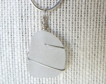 Frosty White Sea Glass Necklace/Pendant//Sterling Wire Wrapped/Jewelry/Urban Boho/Maine/Sea Swag