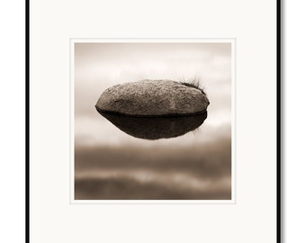 Sensual Stone, Colorado mountain lake, rock detail photography, black and white, sepia warm tone, framed photo by Adrian Davis