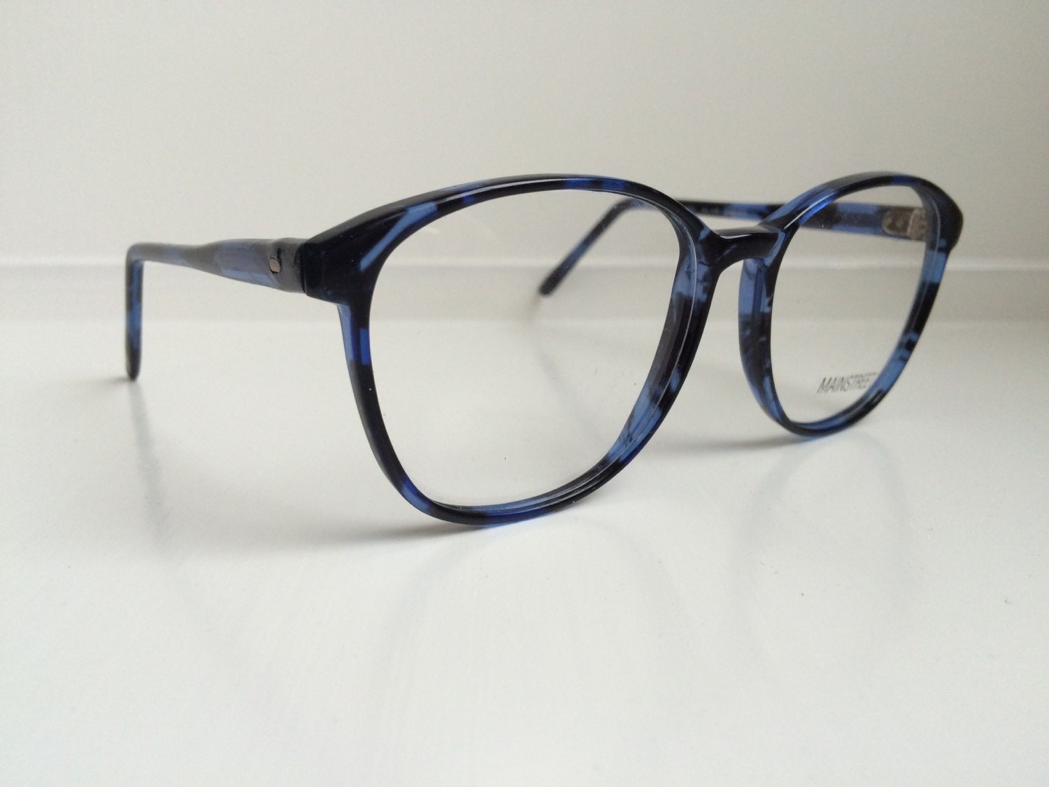 Blue Black Glasses Frames : Vintage Eyeglass Frames Oversized Blue Black Glasses Frames