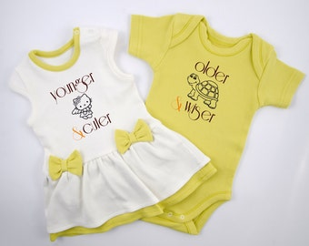 Baby Girl Boy Twin Outfits, Green Set of Baby Girl Bodysuit Dress & Baby Boy Bodysuit, Funny Boy Girl Twin Set, Twins Baby Shower Gift