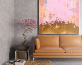 Gold leaf / gold foil painting / pink pastel art / modern chic decor / large wall art / abstract gold metallic art