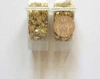 Mini Confetti Poppers: POP THE CHAMPS (gold)