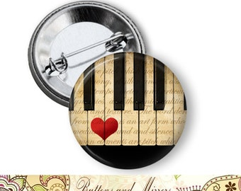 "Piano Love Heart 1.25"" or Larger Pinback Button, Flatback or Fridge Magnet, Badge, Pin, Pocket Mirror, Keychain, Bottle Opener, Music"