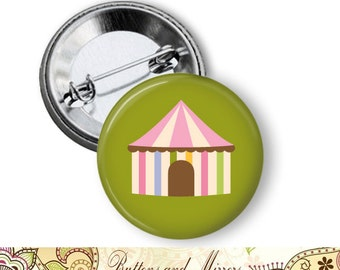 "Circus Elephant (12 choices) 1.25"" or Larger Pinback Button, Flatback or Fridge Magnet, Badge, Pocket Mirror, Keychain, Pin,"