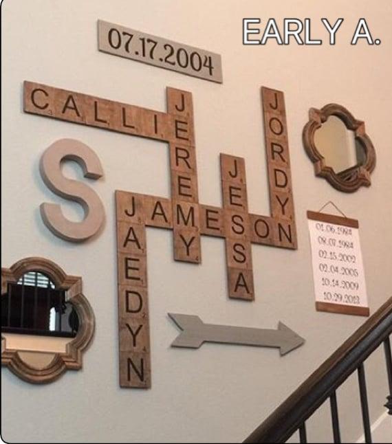 Best seller family scrabble art by theboardbrunette on etsy for Decoration 5 letters