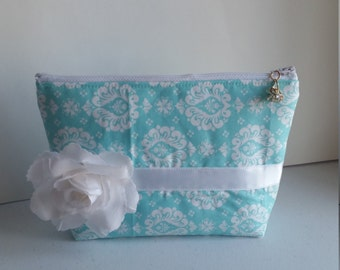 Blue and White Flower Clutch, Blue and White Flower Pouch, Zipper Pouch, Zipper Clutch