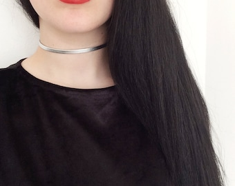 90s Leather Choker Collier Necklace Silver