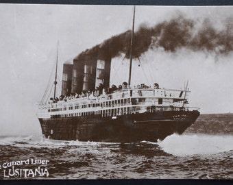 Real Photo Postcard Cunard Liner Lusitania, Davidson Photo Postcard, RPPC Ship