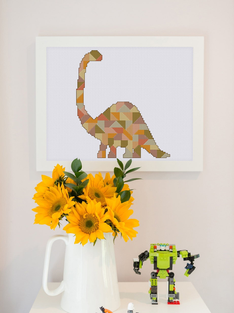 dinosaur chart geometric dinosaur cross stitch pattern decor cross stitch pattern mosaic cross stitch pattern modern cross stitch dinosaur pattern pdf
