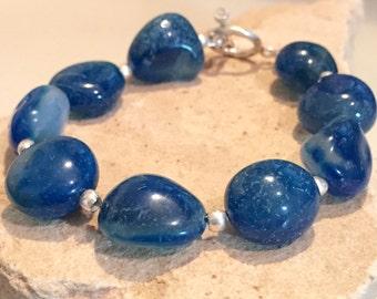 Sea blue chunky bracelet, made with chalcedony bracelet, Hill Tribe silver bracelet, statement bracelet, chunky bracelet, gift for her