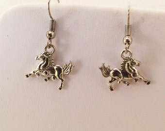 Horse Pierced Earrings Silver Tone