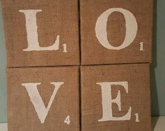 LOVE Scrabble Tile Hand Painted Hessian Canvas farmhouse shabby chic