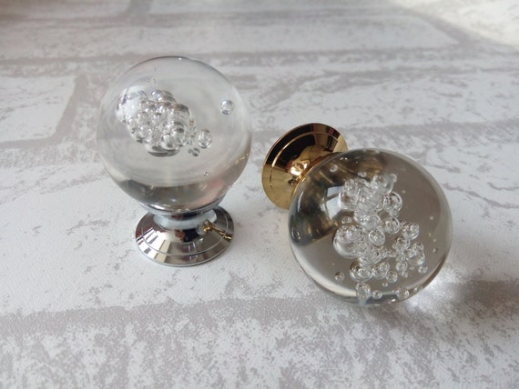 Bubble glass knobs crystal knob drawer knobs dresser pulls for Colored glass cabinet knobs