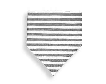 Drool Bib <<Gray Stripes>> Neckerchief/Baby/Toddler Bandana/Scarf/Bib//white//stripes