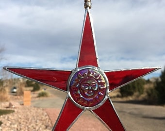 Stained Glass Suncatcher Red Sun Star, great Valentine's Day gift idea