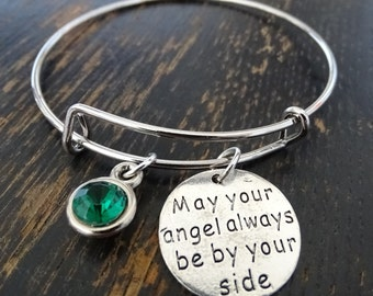 May Your Angel Always Be By Your Side Bangle Bracelet, Adjustable Expandable Bangle Bracelet, Angel Bracelet, Angel Jewelry, Angel Pendant