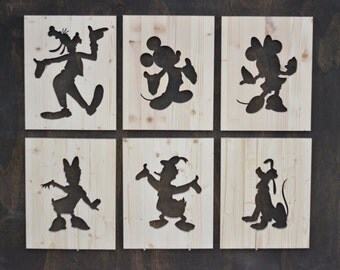 "Classic Disney Character Wood Silhouette Cutouts 12""x15"""