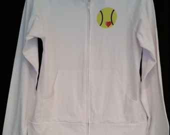 tennis white full zip jacket