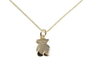 Teddy Bear Pendant Necklace Gold Plated 925 Sterling Silver Chain Link