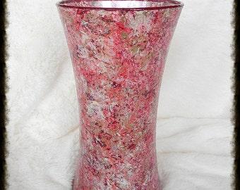 Hand Painted Vase, Glass Vase, Decorative Vase, Home Decor Vase, Housewarming Gift, Wedding Centerpiece Vase, Womens Gift, For Her, Gift Mom