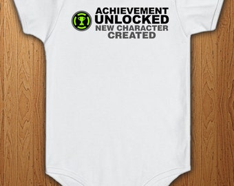 Achievement Unlocked New Character Created Bodysuit New baby Surprise Announcement Pregnant New Dad Gift Idea Daddy Father Geek Video Games