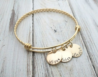 Personalized Bracelet - Gold Bangle - Personalized Bangle - Mothers Bracelet - Engrave Name Bracelet - Personalized Jewelry - Hand Stamped