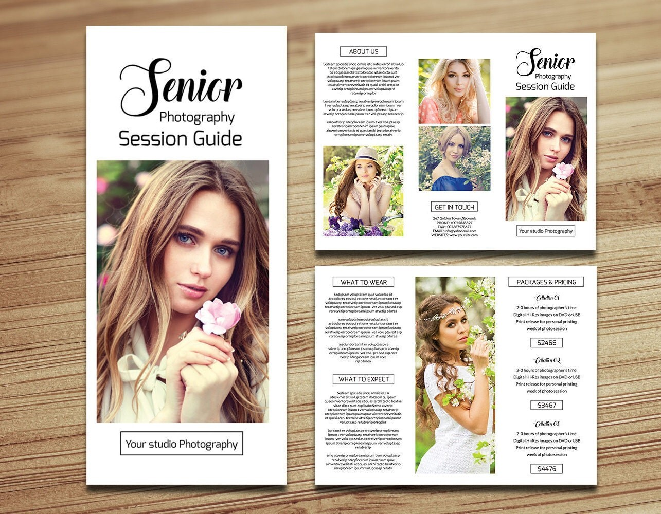 photography brochure templates - senior photography brochure template trifold pricing