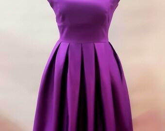 Elizabeth Stone 'Elisa' Audrey Hepburn Inspired 50s Rockabilly Pin Up Swing Bridesmaid Dress in Cadbury Purple