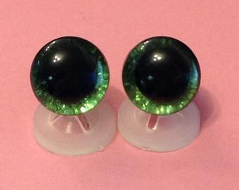 3D Green 12mm Safety Teddy Eyes with PLASTIC BACKS - Glitter Sparkle Animal Eyes for Teddy Bear Making