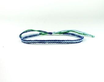 Light Blue And Dark Blue Reversible Friendship Bracelet