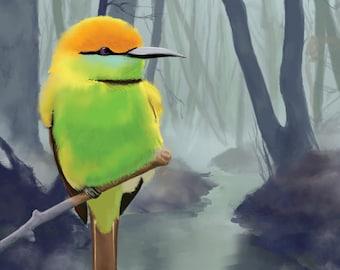 Bird, Art Print, Original Digital Illustration