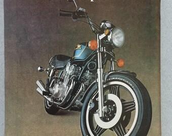 1981 Honda CB750 Custom Motorcycle Double Page Print Ad