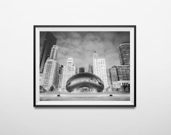 Chicago Photography, Chicago Bean, Chicago Travel Photography, Chicago Black and white, Cloud Gate photo print, Chicago Bean Art, Cityscape