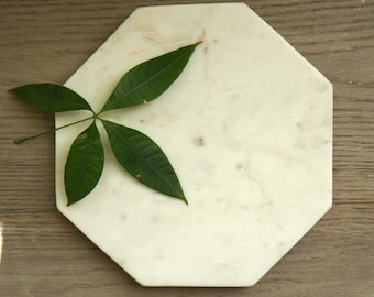 Alaska White Octagon Honed Marble Trivet. One of a Kind Item
