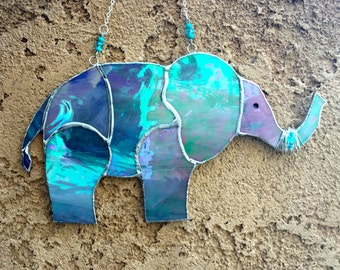 Stained Glass Elephant with Trunk UP