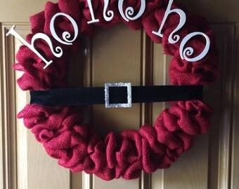 """Santa """"ho ho ho"""" burlap wreath"""