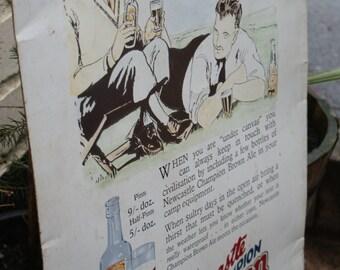 Original Newcastle brown ale tin advertising sign circa 1930's