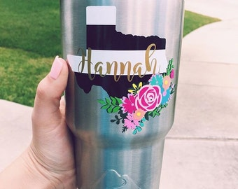 Any State Floral Decal, Floral Texas Decal, Striped State Decal, Floral State Decal