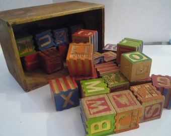 Vintage Wood Childrens Blocks in Antique Wood Box 28 Interlocking