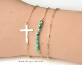 Cross Bracelet / Sterling Silver, Gold, Rose Gold / Delicate Bracelet / Layering Bracelet
