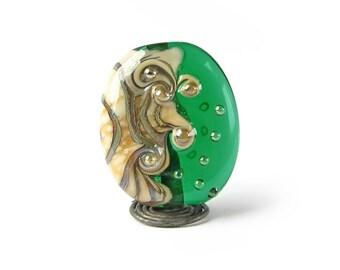 Freeform Lampwork Focal Bead, Handmade Jewellery Supplies, Green Glass Bead, Organic Style, Ivory, Emerald Green