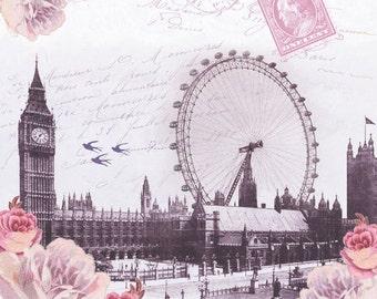 London NAPKINS, Tea Party Napkins, British Napkins, English Napkins, England Napkins, Decoupage Napkins, London Eye, Big Ben
