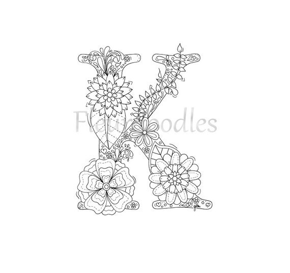 Adult Coloring Page Letter Fonts