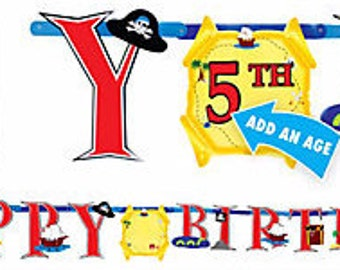 Pirate's Treasure Jumbo Letter Add-An-Age Birthday Banner Kit