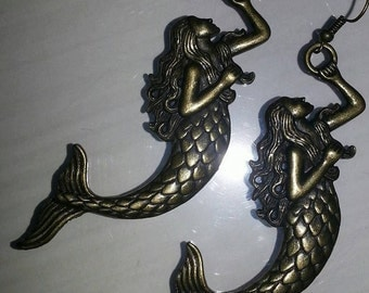 brass mermaid earrings