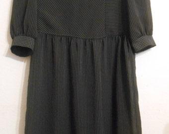 Pinstriped Black Dress