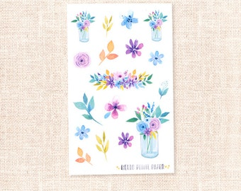 Watercolor floral stickers - Spring Garden collection / decorative planner stickers
