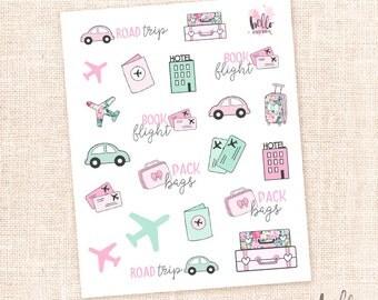Travel stickers - 21 cute planner stickers / for the erin condren, happy planner, filofax