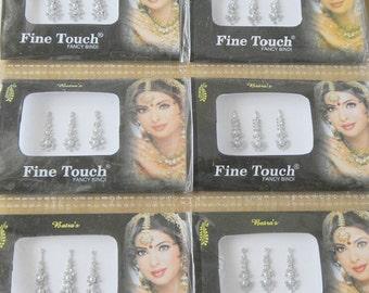 12 Long Silver/Gold/Black Indian Wedding bridal Bindi,Wholesale bindi,Face jewel,Bellydance tikka,Gold Bindi Stickers,Black Bindi USA,UK